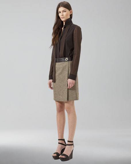 Leather-Waist Wrap Skirt