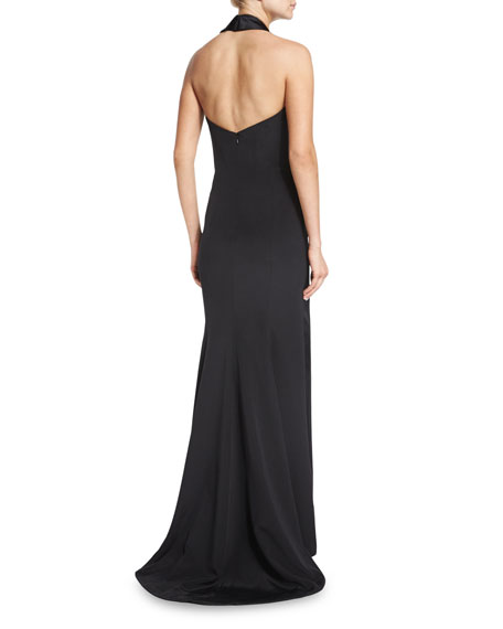 Silk Crepe and Satin Halter Gown