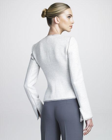 Organza-Trimmed Tweed Jacket