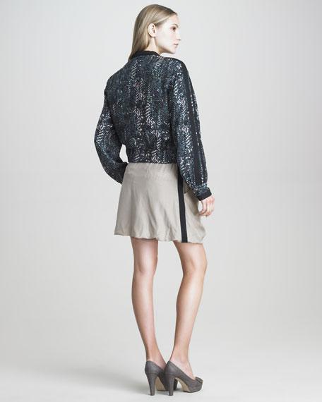 Digital-Print Silk Jogging Jacket