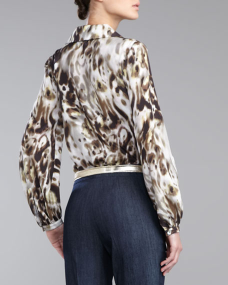 Leopard-Print Crepe de Chine Blouse