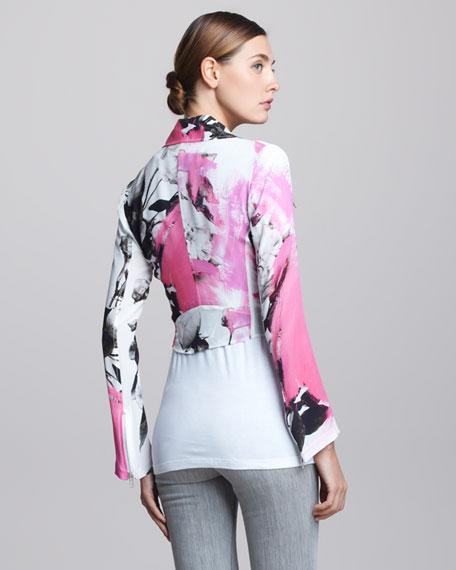 Printed Silk Biker Jacket
