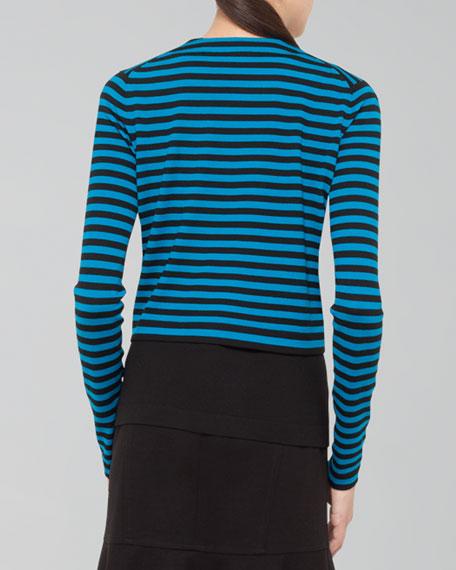 Cropped Striped Wool Cardigan