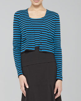 Akris punto Cropped Striped Wool Cardigan