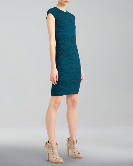 Cap-Sleeve Knit Sheath Dress