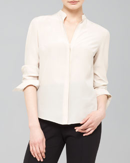 Akris punto Mandarin Collar Silk Blouse