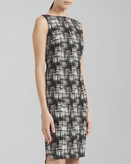 Crosshatch-Print Bateau Dress