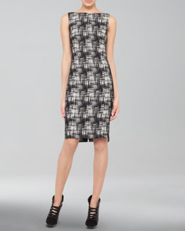 Akris punto Crosshatch-Print Bateau Dress