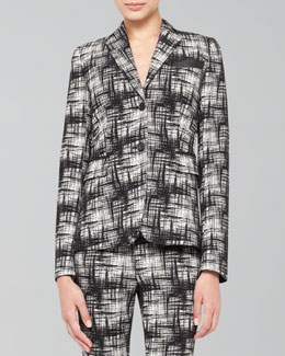 Akris punto Two-Button Crosshatch-Print Jacket