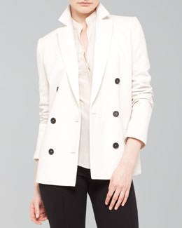 Akris punto 3/4-Sleeve Double-Breasted Blazer