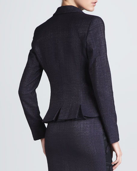 Pleated Cutaway Jacket, Dark Blue