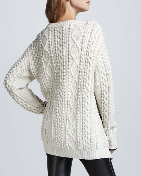 Oversized Cable Knit Pullover, Ivory