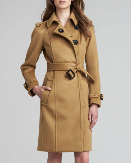 Long Cashmere Snap Coat, Mid Camel