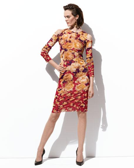 Cold-Shoulder Floral-Print Dress, Red/Multicolor