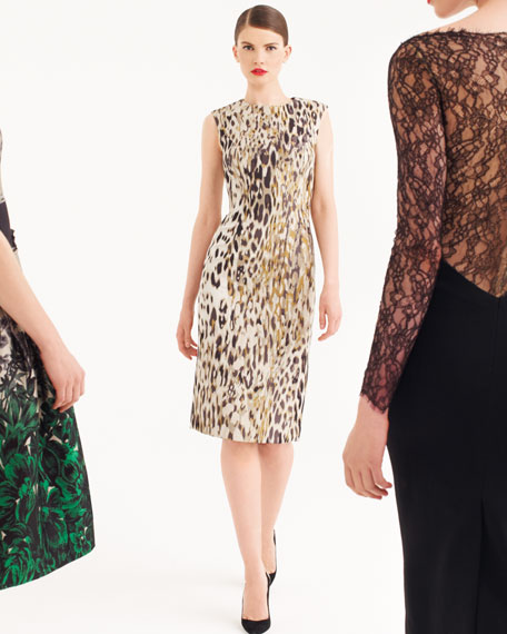 Animal Jacquard Sleeveless Sheath Dress