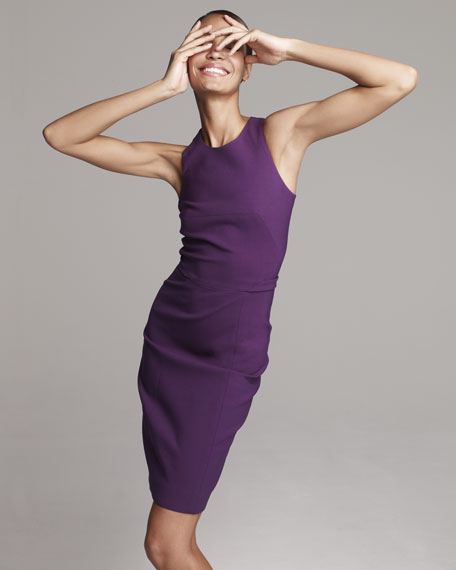 Fitted Racerback Sheath Dress, Violet