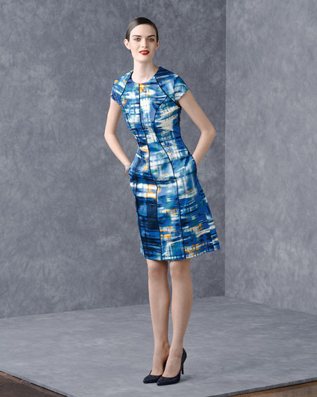 Piped Abstract-Print Dress, Cerulean/Multi