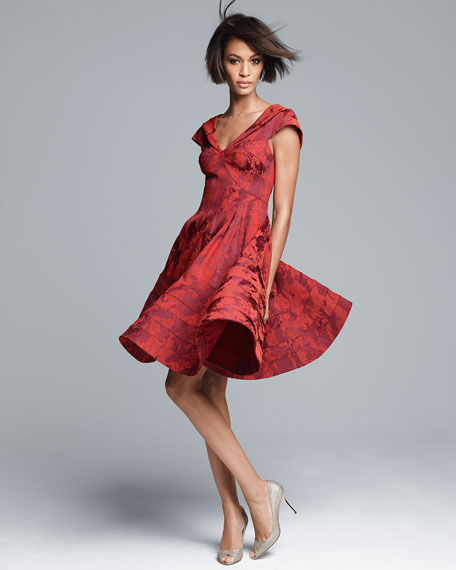Floral Jacquard A-Line Dress, Cherry