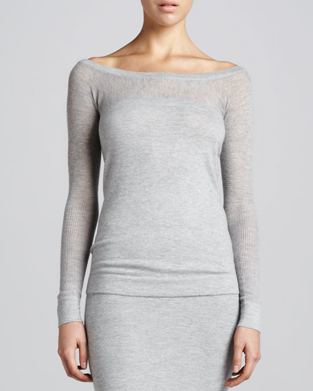 Long-Sleeve Wide-Neck Top, Cement