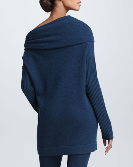 Off-the-Shoulder Cashmere Sweater, Slate Blue