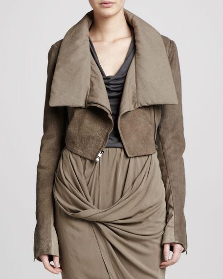 Jersey-Lined Leather Bolero, Oak