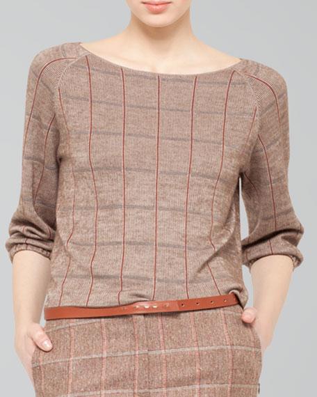 Windowpane Cashmere-Silk Bateau Pullover