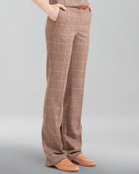 Windowpane Wool Flannel Trousers