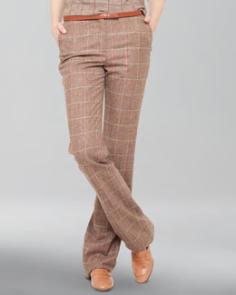 Akris Windowpane Wool Flannel Trousers