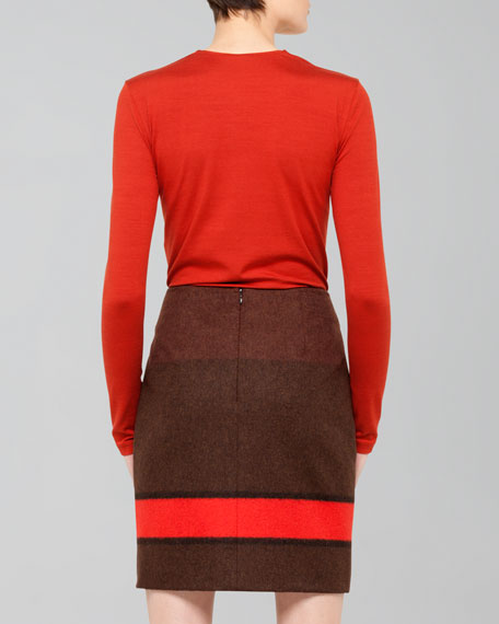 Colorblock Flannel Pencil Skirt