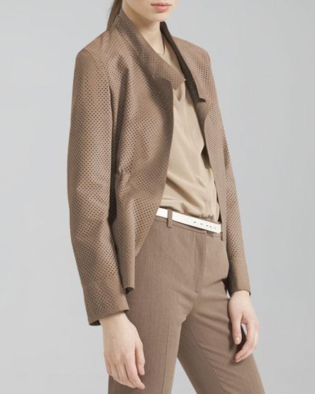 Perforated Drawstring Suede Jacket