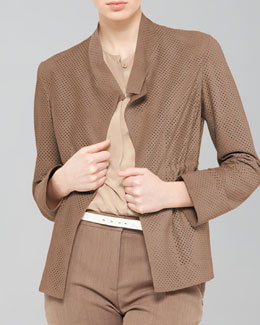 Akris Perforated Drawstring Suede Jacket