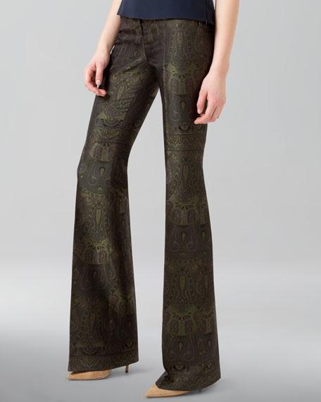 Boot-Cut Paisley Jacquard Pants
