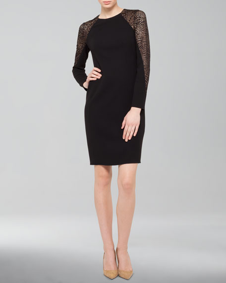 Lace-Inset Wool Shift Dress