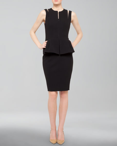 Akris Zip-Front Wool Peplum Pencil Dress