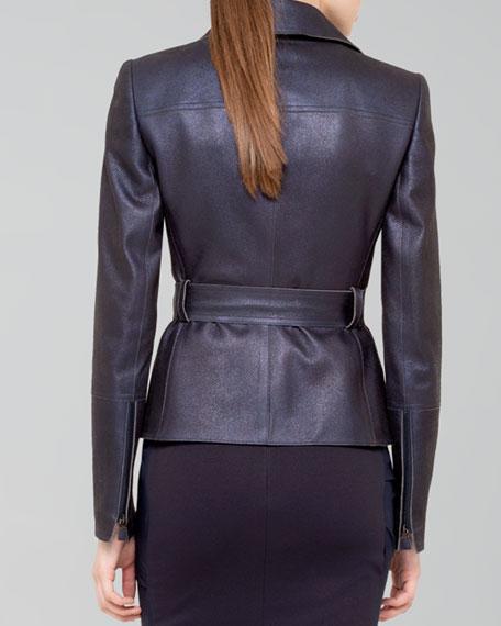 Shimmer Suede Moto Jacket