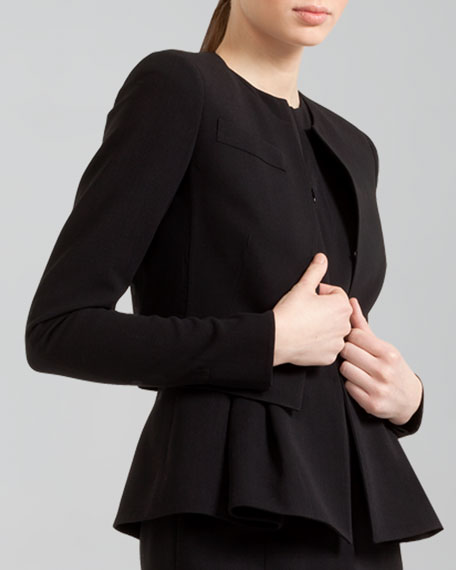 Cropped Open-Front Wool Jacket