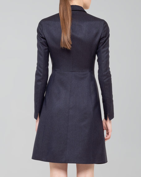 Silk Ottoman A-Line Coat Dress