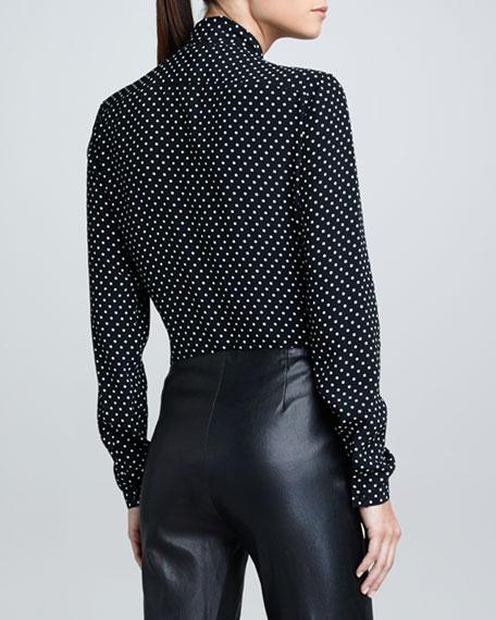Silk Polka-Dot Ascot Blouse, Black/Ivory