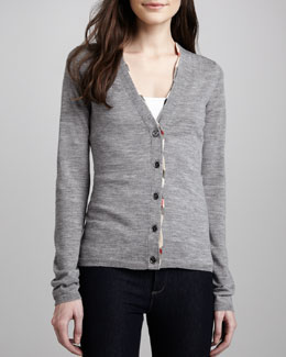 Burberry Brit V-Neck Cardigan with Check Trim