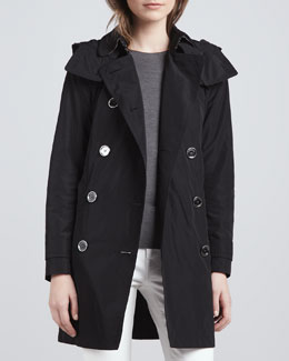 Burberry Brit Trenchcoat with Removable Hood, Black