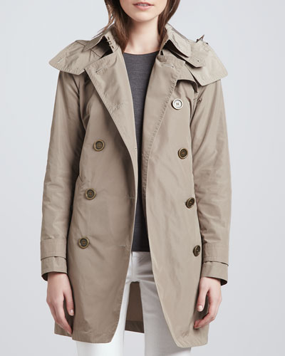 Burberry Brit Trenchcoat with Removable Hood, Sisal