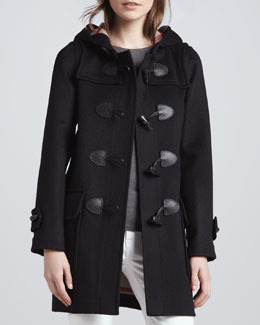Burberry Brit Classic Double-Face Toggle Duffle Coat, Black