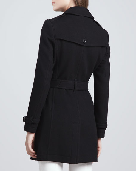 Wool-Blend Trench Coat, Black