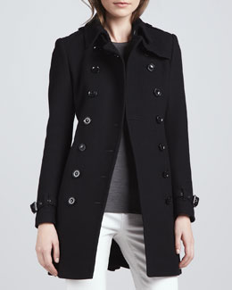 Burberry Brit Wool-Blend Trench Coat, Black