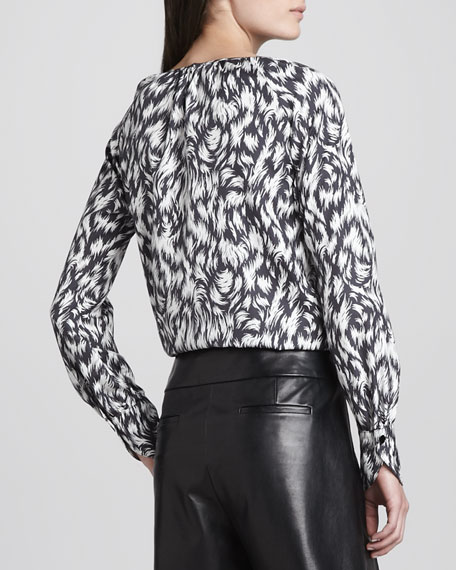 Printed Silk Blouse, Black/White