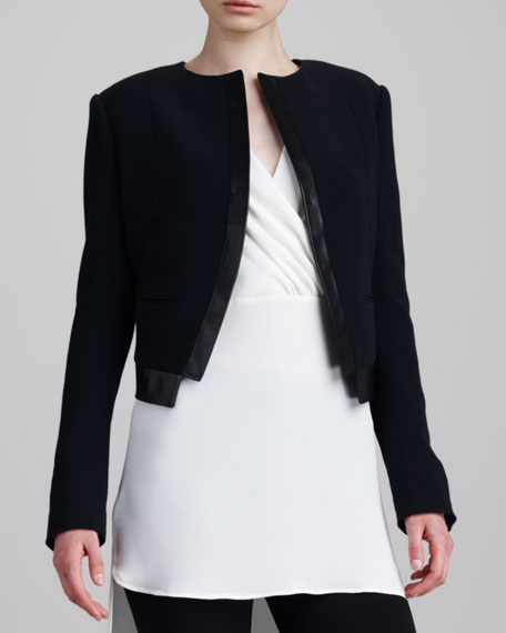 Leather-Trimmed Bolero, Black