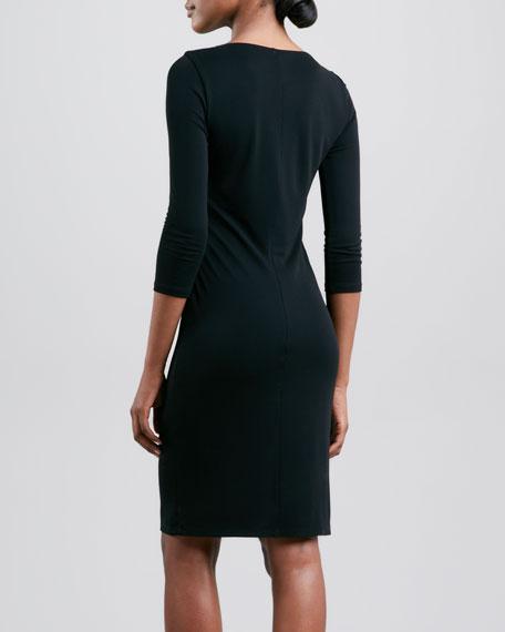 Three-Quarter-Sleeve Keyhole Dress, Black
