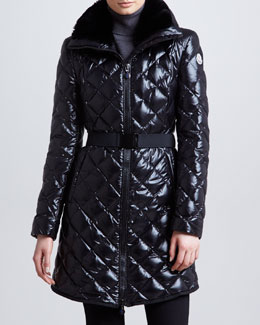 Moncler Long Belted Fur-Collar Puffer Coat, Black