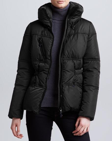 Hip-Length Puffer Jacket, Black