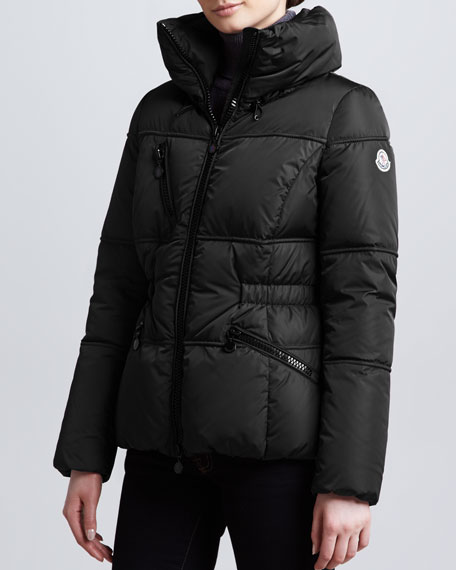 Hip-Length Puffer Jacket, Black